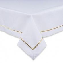 Obrus Biały z Lamówką Złotą 140/320