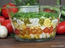 Warstwowa sałatka do grilla        1 puszka kukurydzy     6 średnich ogórków kiszonych     6 jajek     1 pomidor     około 200 g pomidorków koktajlowych     pęczek szczypiorku  ...