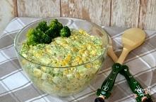 Sałatka z brokułem, jajkiem i szynką        1 brokuł     7 jajek ugotowanych ...