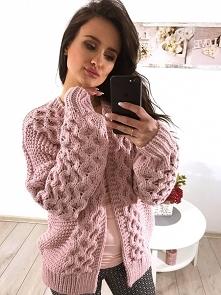 Sweter narzutka warkocz