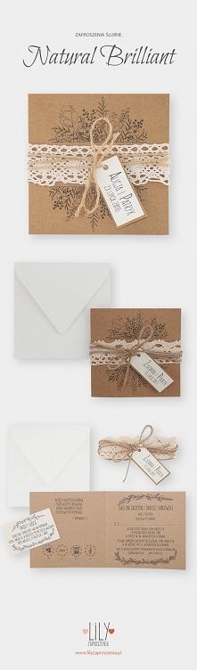 Rustykalne zaproszenia ślubne z kolekcji Natural Brilliant