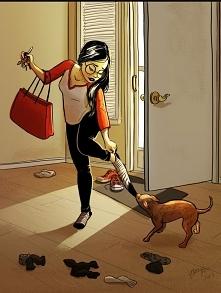 Mój pies też mnie tak żegna...