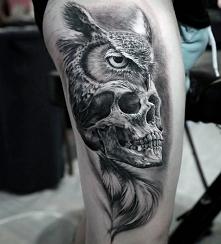 3d tattoo owl and skull