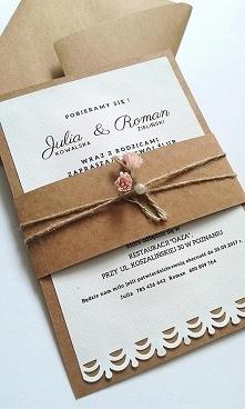 Rustykalne zaproszenie ślubne