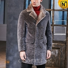 Christmas Gift | CWMALLS® Stockholm Custom Double Breasted Shearling Coat CW8...