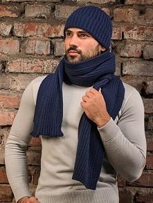Zestaw (2 szt.) w kolorze indigo - czapka, szalik