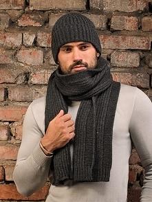 Zestaw (2 szt.) w kolorze ciemnoszarym - czapka, szalik