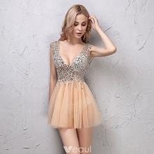 Seksowne Szampan Sukienki K...