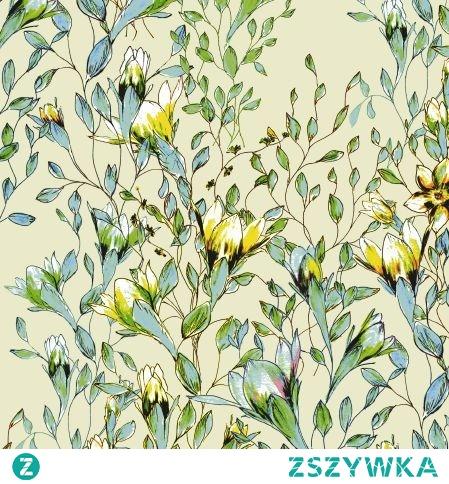 Materiał z nadrukiem: Pnące kwiaty wśród liści - seria 5 - cottonbee.pl