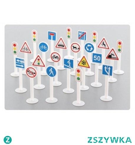 """Piątek, piąteczek, piątunio:) Jak nas znaleźć?  Pomoże 24 plastikowych znaków drogowych. m.in. sygnalizacja świetlna, droga dla rowerów, droga dla pieszych, zakaz wjazdu motorowerów ...niezależnie od posiadanego pojazdu.  Patrz na znaki drogowe - można u nas """"zaparkować"""" swój pojazd.  Z zestawem Polesie 64219 - """"Wszystkie drogi prowadzą do """"NiczChin"""":)  Miłego Weekendu"""
