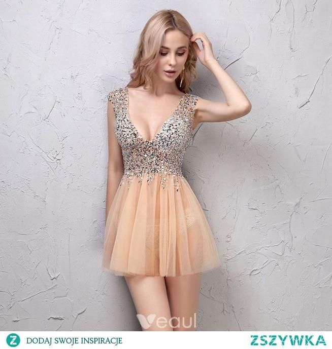Seksowne Szampan Sukienki Koktajlowe 2019 Princessa Kryształ Cekiny V-Szyja Bez Pleców Bez Rękawów Krótkie Sukienki Wizytowe