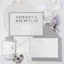 Zaproszenie ślubne ze srebrnym brokatem i folią