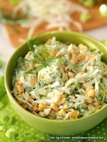 Surówka z kapusty z porem i kukurydzą składniki: 250 g kapusty białej (ćwiart...