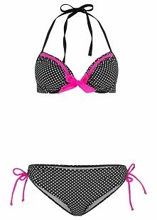 Bikini na fiszbinach (2 części) bonprix czarno-biały