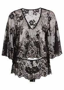 Koszulka z długim rękawem + figi panty (2 części) bonprix czarny