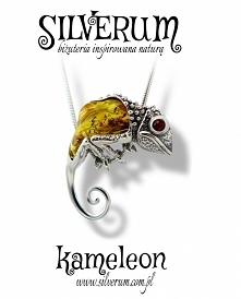 Kameleon wisiorek srebrny -...