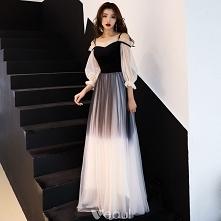 603123d5eb Stylowe   Modne Gradient-Kolorów Czarne Sukienki Wieczorowe 2019 Princessa  Spaghetti Pasy Plisowa.
