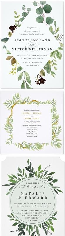 Zaproszenia - zielone ramki