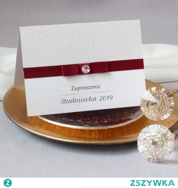 zaproszenia na studniówkę eleganckie z ozdobnym tłoczonym papierem