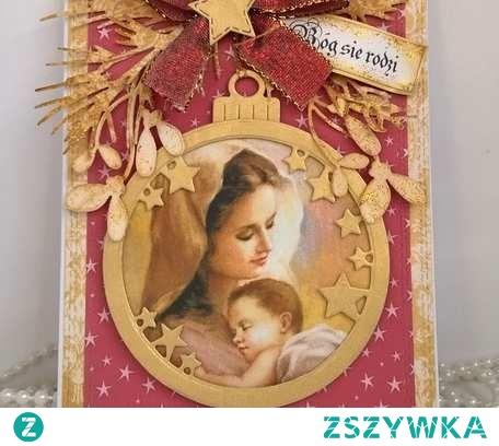 Klimatyczna,  jedyna w swoim rodzaju , zamykana karteczka świąteczna z wizerunkiem Matki Bożej z Dzieciątkiem, elementami 3D i świątecznym połyskiem. Wykonana w 100% ręcznie z najwyżeszej jakości materiałów. Wewnątrz ozdobione miejsce na życzenia. W komplecie koperta i folijką.