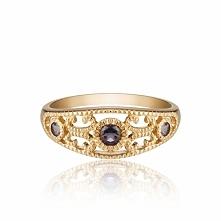 Złoty Pierścionek - złoto żółte 585, Iolit