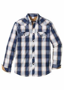 Koszula z długim rękawem Regular Fit bonprix niebieski w kratę
