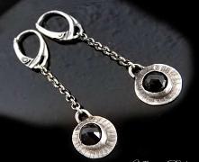 Kolczyki srebrne z czarnym,...