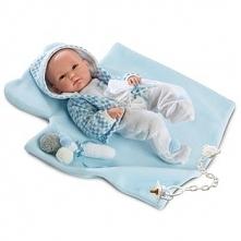 Lalka Llorens noworodek Pipo na niebieskim kocyku 35cm