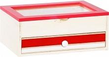 Timelife Drewniane Pudełko Z Szufladą, Czerwone