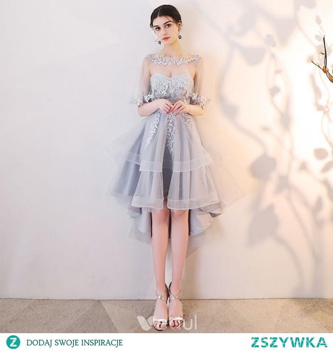 Piękne Szary Sukienki Koktajlowe 2019 Princessa Wycięciem Z Koronki Aplikacje 1/2 Rękawy Bez Pleców Asymetryczny Sukienki Wizytowe