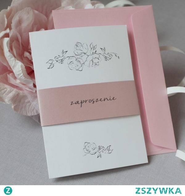 zaproszenia ślubne minimalistyczne z opaską w kolorze pudrowy róż, róże malowane ołówkiem