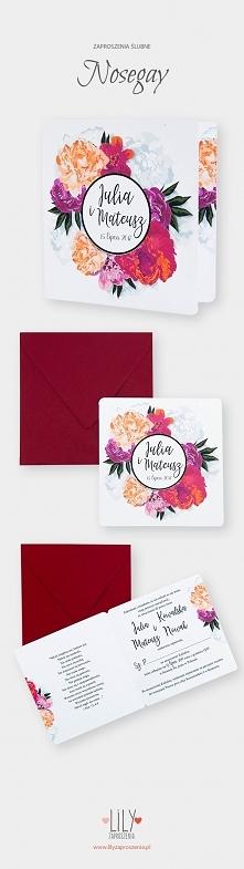 Kwiatowe zaproszenia ślubne z kolekcji Nosegay