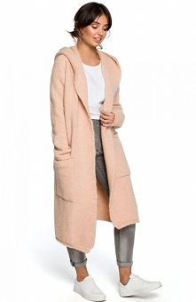 BE BK016 kardigan bladoróżowy Elegancki ciepły płaszcz damski, który doskonale sprawdzi się w chłodne dni, wykonany został z przyjemnej przędzy, prosty fason świetnie układa się...