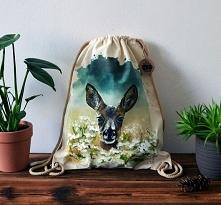 Ręcznie malowany plecak z Sarną