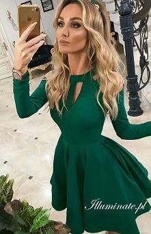 Rozkloszowana sukienka w butelkowej zieleni <3 Hit tegorocznej jesieni! Ty...
