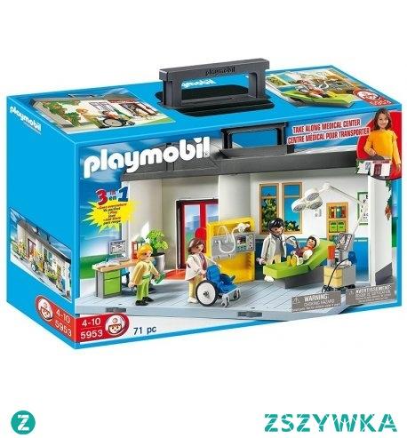 """Witajcie, dziś coś dla małych lekarzy:)  Zestaw Playmobil 5953 Przenośny Szpital City Life dla dzieci od lat 4, w którym znajdują się 4 figurki, recepcja i sala szpitalna ze sprzętem medycznym.   Przewozić chorych można na wózku inwalidzkim, a udzielić pierwszej pomocy na łóżku lekarskim.  Szpital i """"pacjentów"""" można zabierać ze sobą:)"""