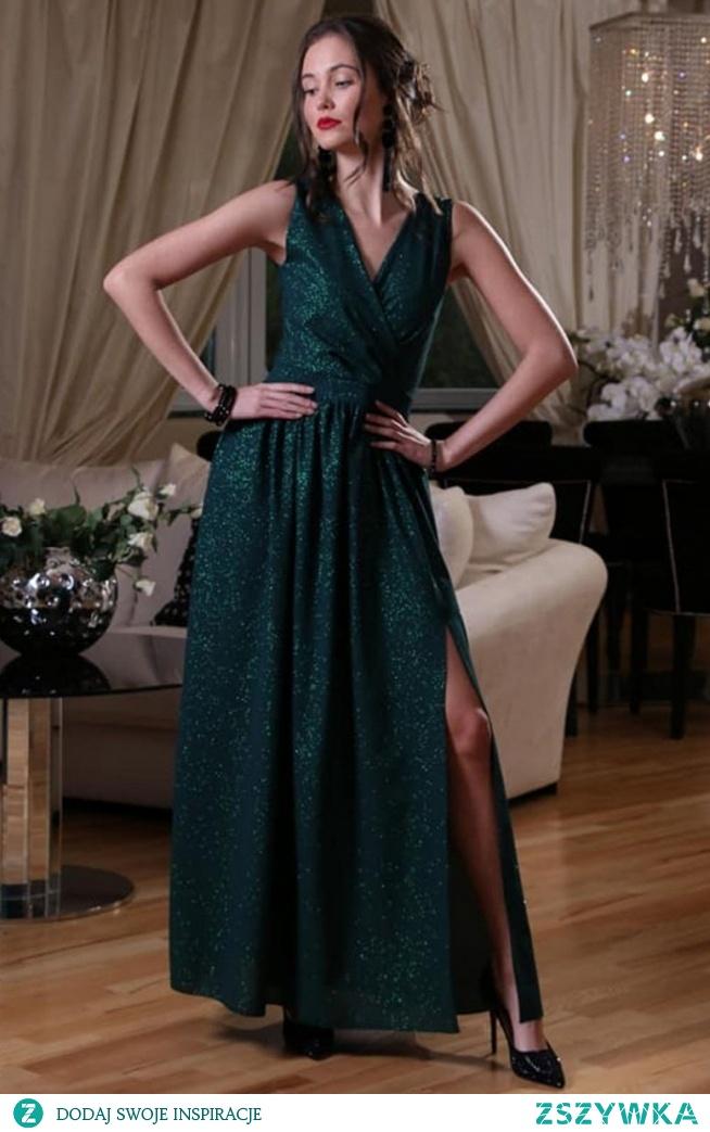 Roco 0224 sukienka zielona Przepiękna długa sukienka