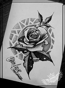 róża tatuaż projekcik...