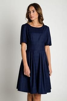 Granatowa rozkloszowana sukienka BIALCON