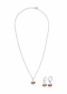 Komplet biżuterii z kryształami Swarovskiego®  (3 części) bonprix srebrny kol...