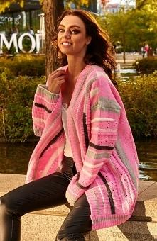 Lemoniade LS234 kardigan różowy Przepiękny kolorowy kardigan damski to doskon...