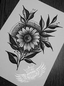 kwiat tatuaż projekt