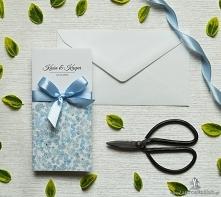 Przepiękne kwiatowe zaproszenia ślubne z niezapominajkami