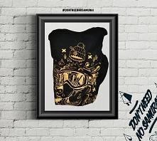 T-shirt Gold Bear Longer Length Black