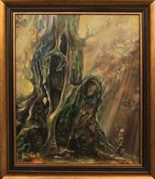 """""""Przyklasztorny stary dąb"""" obraz olejny  Obraz olejny o wymiarach 60x50 cm, z ramą 70 x 60 cm. Płótno na blejtramie. Symbolika. Obraz oferowany razem z ramą widoczną n..."""
