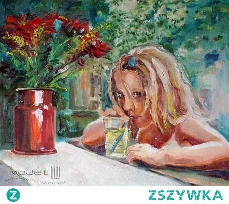 Chwila wytchnienia przy stole z kwiatami i szklanką cytrynowej lemoniady... Obraz olejny na płótnie, utrzymany w nieco kontrastujących odcieniach zieleni i ciemnej czerwieni, werniksowany. Boki pomalowane pod kolor. Sygnowany. Wielkość - 50 x 60 cm