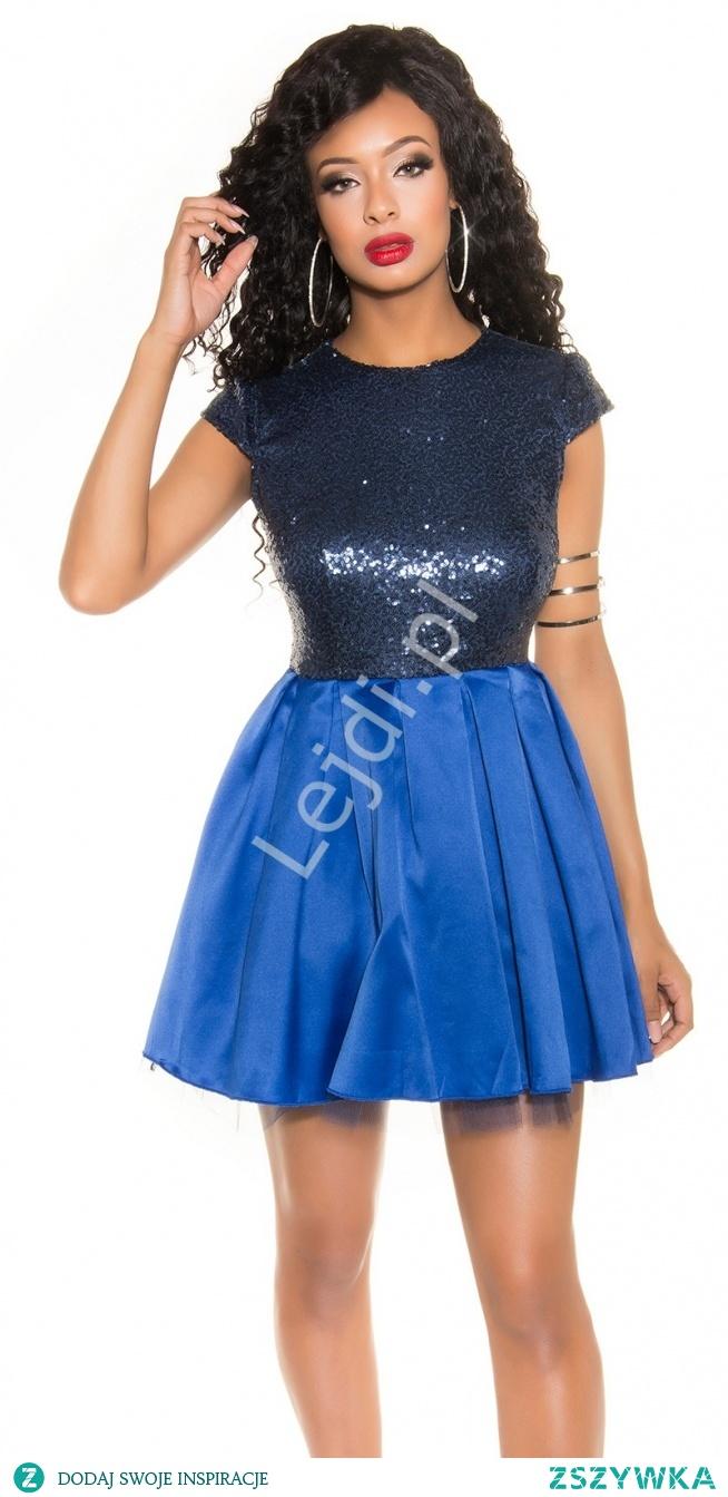 Niebieska sukienka cekinowa. Rozkloszowana sukienka z cekinami. Sukienka na sylwestra, sukienka na andrzejki.