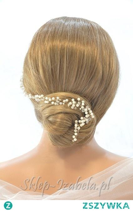 Ozdoba do fryzury na ślub gałązka z perełkami i kryształkami