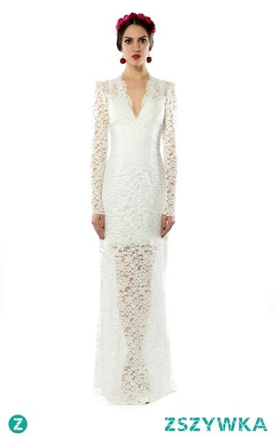Koronkowa suknia ślubna. Projektant - Milita Nikonorov