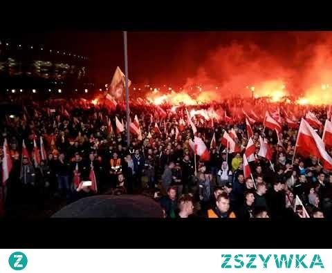 Bogurodzica śpiewana przez setki tysięcy Polaków na Marszu Niepodległości w Warszawie 11.11.2018